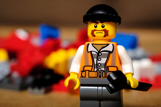 Russia, Kazan, December 2020: Lego Tire Changer Figurine. Lego minifigure are the successful line in Lego products