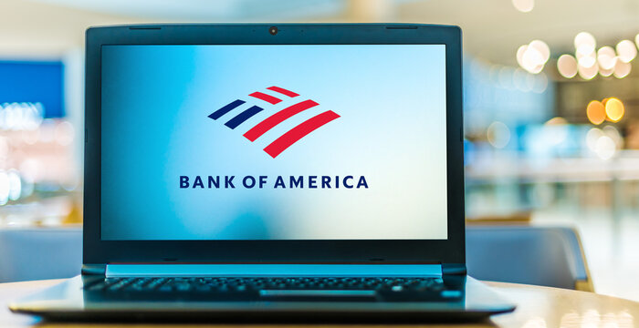 Laptop computer displaying logo of Bank of America