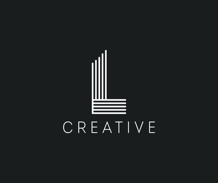Letter L logo design with vertical and horizontal lines. Elegant monogram with white overlapping stripes. Capital alphabet in a linear style. Graceful thin lines emblem. Eps 10.