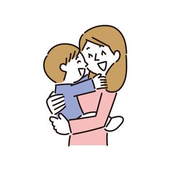 母親に抱かれて幸せな気分の男の子
