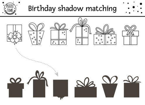 Birthday black and white shadow matching activity for children. Fun outline puzzle with cute gift boxes. Holiday line celebration educational game for kids with presents. Find the correct silhouette.