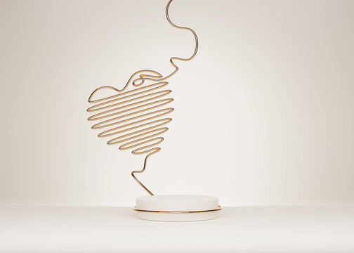 3D podium, display, heart line art background. Beige, white pedestal with gold wire. Beauty, cosmetic product presentation. Minimal pastel  showcase. Abstract, studio, love, valentines day 3D render