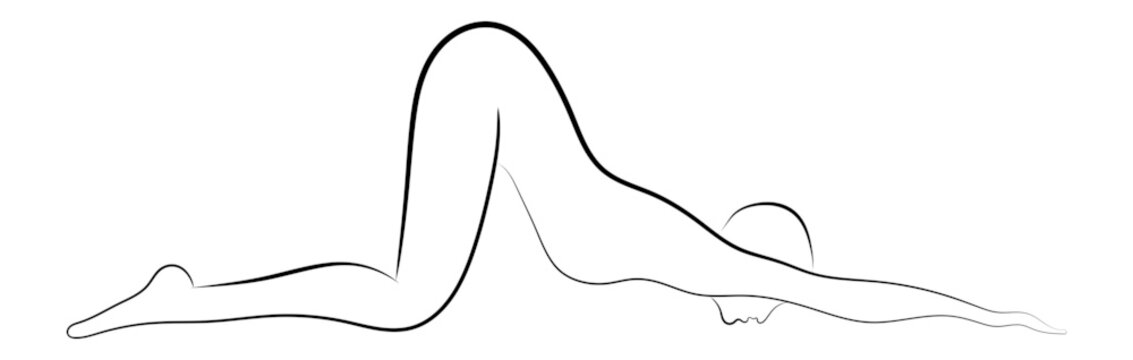 woman yoga position lineart sketch drawing vector isolated illustration