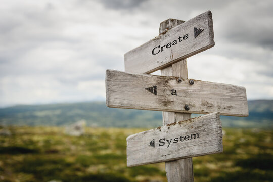 create a system signpost outdoors in nature