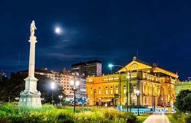 Monument to Juan Lavalle and Teatro Colon in Buenos Aires, the capital of Argentina