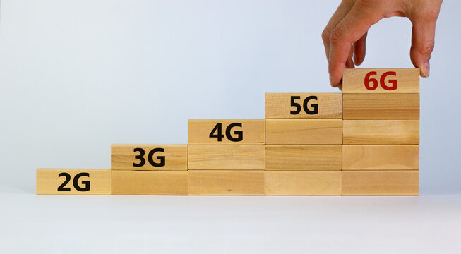 6G network evolution symbol. Hand holding a wooden block with 6g symbol. 2G, 3G, 4G, 5G words. Copy space. Beautiful white background. Technology, business, communication and 6G concept.