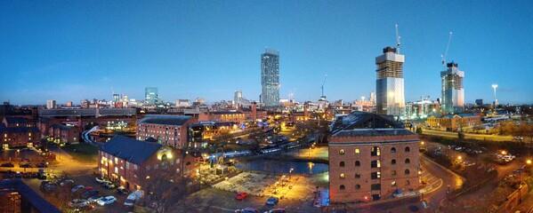 Illuminated Cityscape Against Clear Sky - fototapety na wymiar
