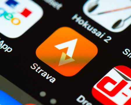 BAYONNE, FRANCE - CIRCA JANUARY 2021: Strava app icon on Apple iPhone screen. Strava is an internet service for tracking exercise. It is mostly used for cycling and running using GPS data.