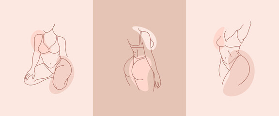 Set of beautiful curvy woman body line art illustration. Minimalist linear female figure. Abstract nude sensual line art. Simple body positive elegant posters. Fototapete