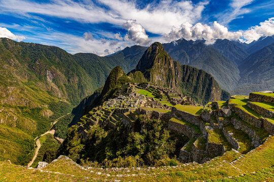 Peru, Eastern Cordillera, Cusco region. Historic Sanctuary of Machu Picchu. There is Huayna Picchu raised above the Inca city