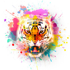 tiger head tattoo angry tiger in colorful paint splashes