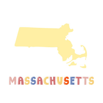 USA collection. Map of Massachusetts - yellow silhouette. Doodling style lettering