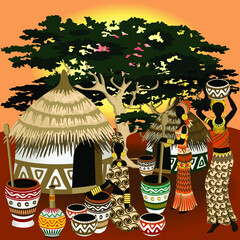 African Life Scenery, village, huts, women and wild animals on Sunset Vector Art © BluedarkArt TheChameleonArt