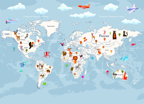 wallpaper world map with animals for children