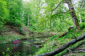 Fototapeta Samotny spływ kajakowy rzeką Brdą w północnej Polsce obraz