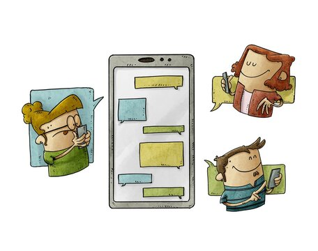 three people are around a large mobile phone and they are sending messages to each other. Communication and social media concept. isolated