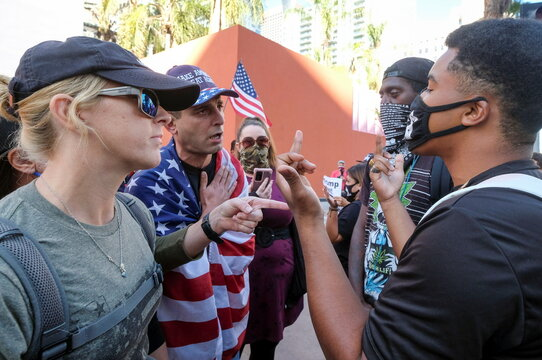 Supporters of U.S. President Donald Trump argue with anti-Trump protesters during a demonstration in Los Angeles
