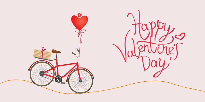 Pink card for Valentine's Day. Bike with a tied heart, gifts and a happy valentine's day inscription. The Road of Love