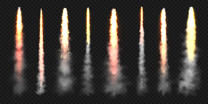Realistic space rocket launch trails. Fire burst, explosion. Missile or bullet trail. Jet aircraft tracks. Smoke clouds, fog. Steam flow. Vector illustration.