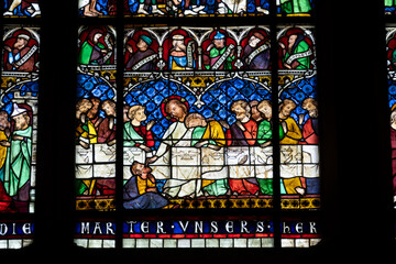 Stained glass window of The Last Supper, Strasbourg Cathedral, France