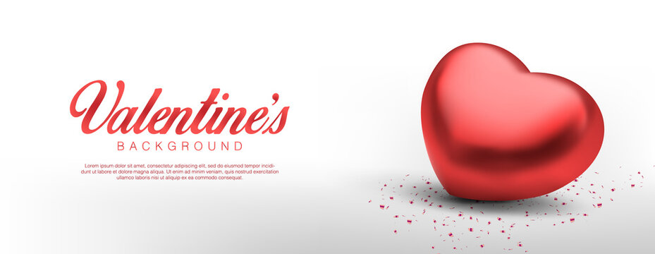 Realistic valentines day. Romantic Premium Vector background with 3d red hearts