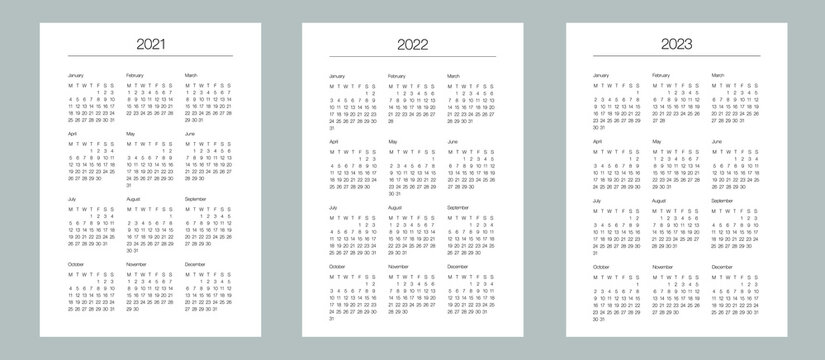 A5 format. Organizer and bullet journal printable pages. Perfect minimalist calendar. 2021, 2022, 2023. Week starts at Monday. European English Gregorian calendar. Planner sticker. Stationery. Vector.