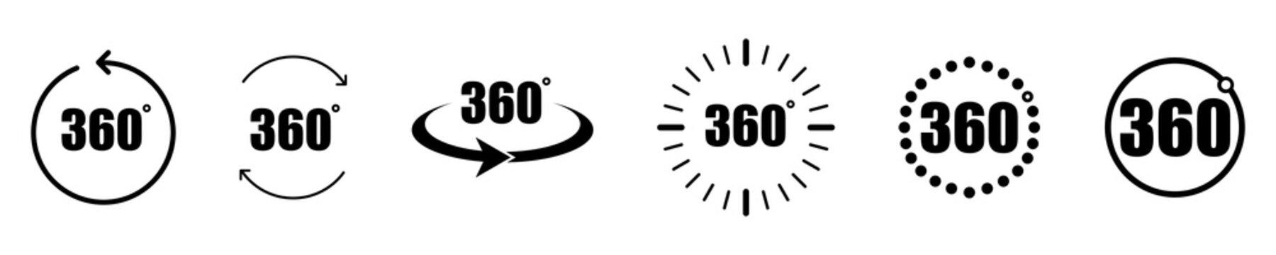 Different 360 degree icon set. 360 degree view icon set. Arrow icon. Symbol, logo illustration. Vector image. Vector graphic.