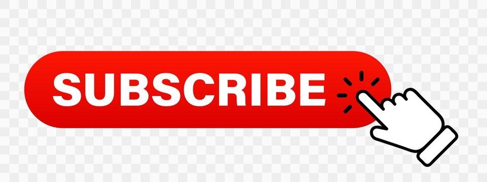Hand cursor clicking on red subscribe button. Subscribe button. Hand pointer icon. Subscription service. Social media concept. Streaming video. Play button vector icon. Vector graphic.