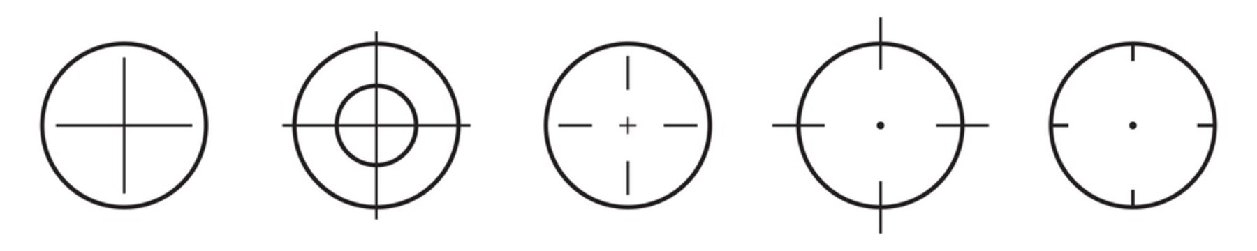 Different target icon set. Different aim icons. Target set. Bullsey sign set. Vector graphic.