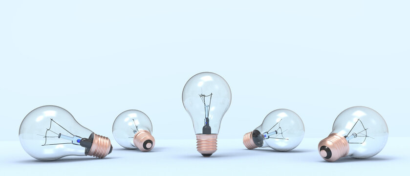 Creative idea inspiration and lightbulb concept on blue Background. minimal style. motivation to success - 3d rendering