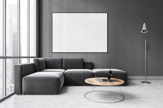 Mockup canvas in dark living room with black sofa on marble floor