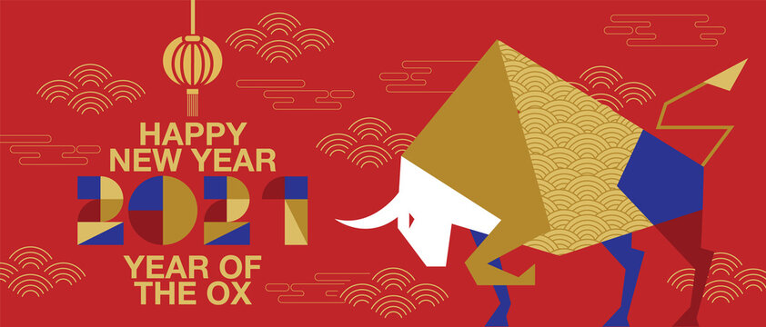 Happy new year, Chinese New Year, 2021, Year of the Ox, happy new year,  Flat design (Translate : Ox )