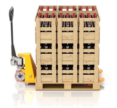 Wine wooden crates with bottles on pallet jack - 3D illustration