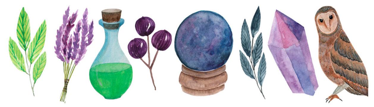Watercolor clipart of magic items. Owl, fortune-telling ball, potion, crystal, lavender, berries, twigs.