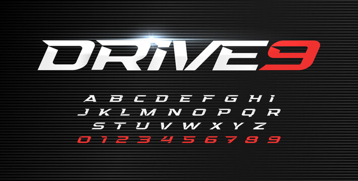 Dynamic letters and numbers set. Drive alphabet, dynamic font, wind type for modern sport logo, motion headline and action lettering. Vector typographic design.