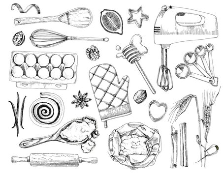 Hand drawn bakery design elements