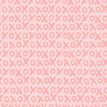 Hugs and kisses abbreviation seamless pattern. Xoxo gentle pink background. Love relationship Valentines Day design. Vector illustration
