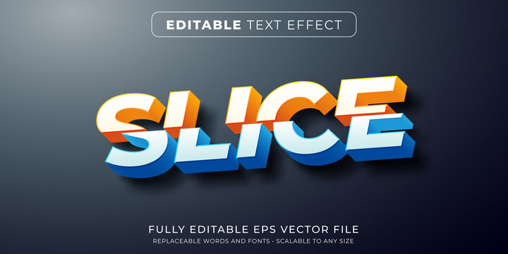 Editable text effect in slice cut text style