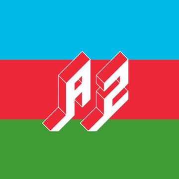 AZ - international 2-letter code or National domain of Azerbaijan. A and Z - Monogram or logotype. Isometric 3d font for design. Three-dimension letters.