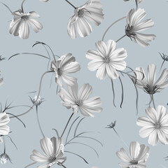 Floral seamless pattern, cosmos flowers with leaves in blue tone