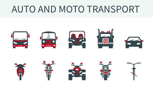 A set of vector illustrations, icons and logos of cars, trucks and buses, motorcycles, bicycles and ATVs.