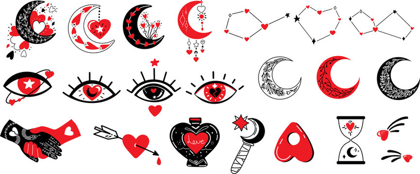 Witchcraft love symbols.Vector illustration on love theme with Creepy Valentine's day attributes, heart, evil eye, magic hands, potion,stars and moon. Mystical Celestial Witchy illustrations