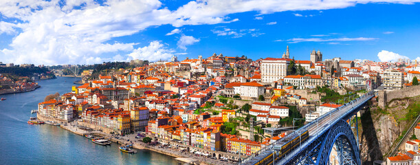 panorama of beautiful Porto - view with famous bridge of Luis, Portugal