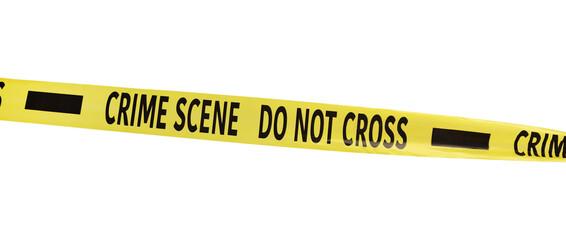 Yellow crime scene tape isolated on white - fototapety na wymiar