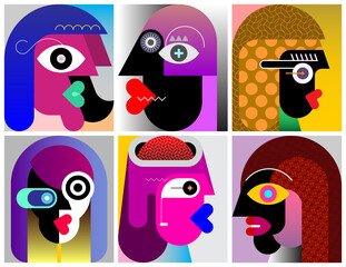 Six Faces modern art graphic illustration. Design of six different abstract portraits.