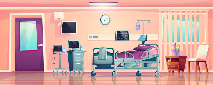 Interior of hospital ward room, post-operation recovery bed and medical equipment cartoon design. Vector monitors for patient supervision, clinic furniture, dropper and clock, computer and folder