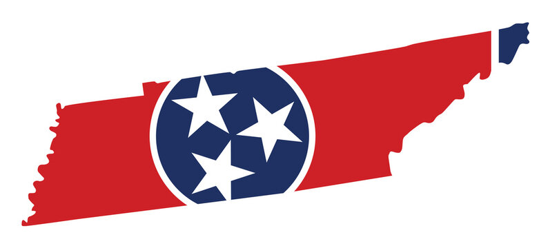 flag and silhouette of the state of Tennessee