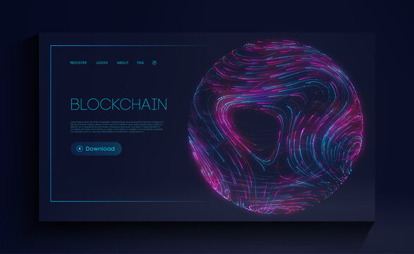 Blockchain cryptocurrency web landing page. Digital currency technology concept. Vector illustration of block chain internet development.