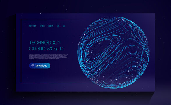 Technology Cloud World. Globe network fintech concept. Blockchain transfer satellite future communications vector background.
