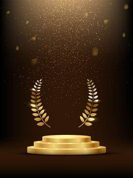 Golden three step podium with laurel wreath under falling gold glitter isolated on dark background. Vector illustration.